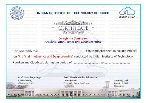 AI and Deep Learning Project certificate by IIT Roorkee and CloudxLab