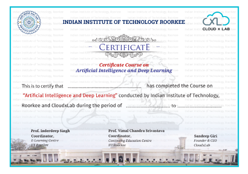 AI and Deep Learning Course certificate by IIT Roorkee and CloudxLab